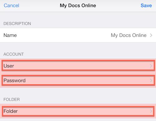 Dictate+Connect enter My Docs Online ID Password Destination Folder