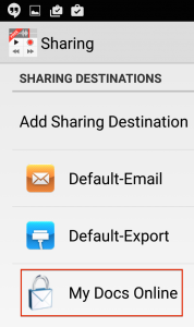 Dictate+Connect Add Sharing Destination