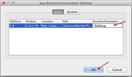 Java Runtime parm -Xdebug